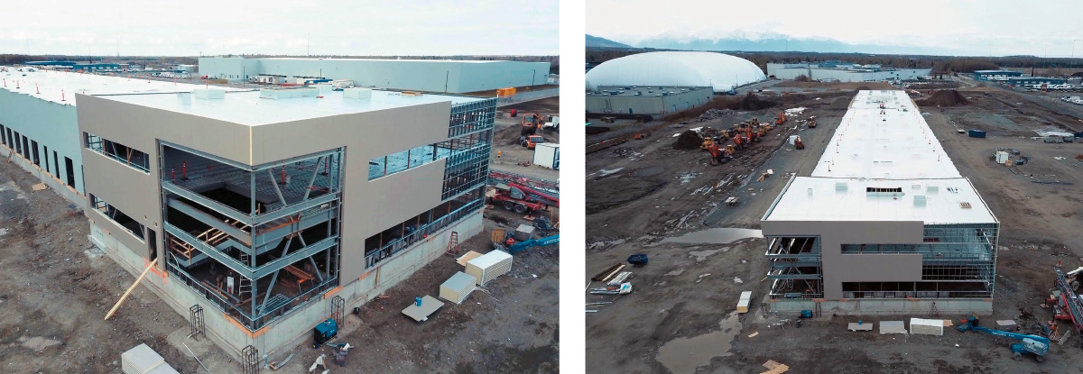 Aerial view of the new Span Alaska terminal as of early May; the facility is scheduled to open in October.