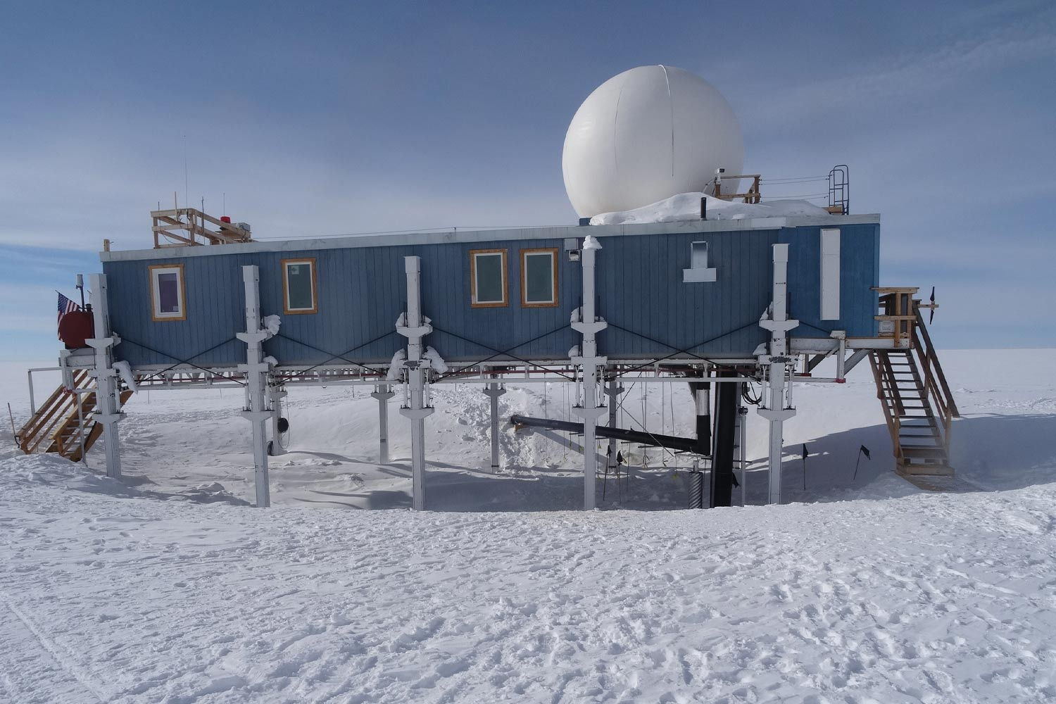 Full view of year-round research station located in Summit, Greenland