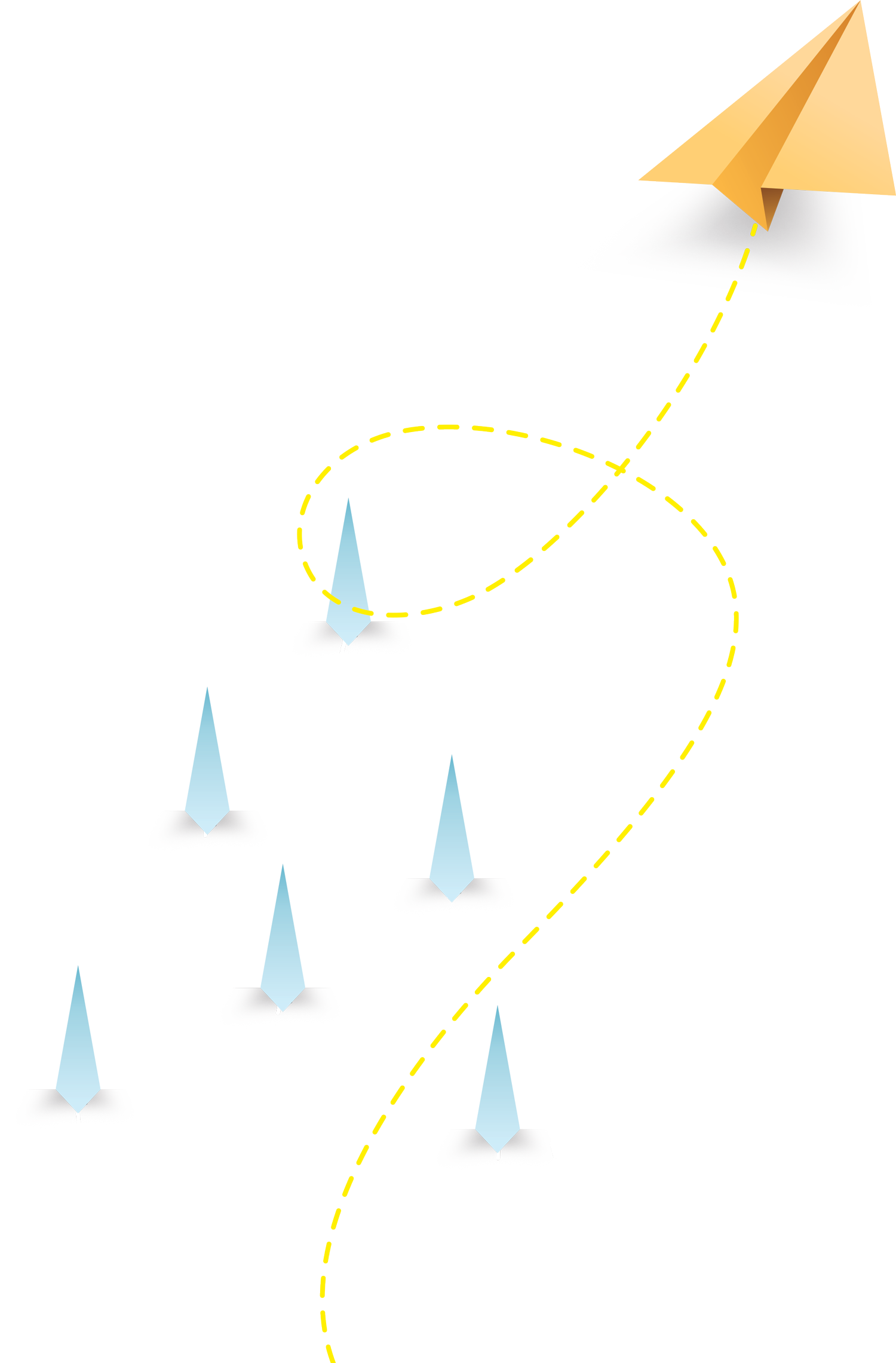 Illustration of paper airplanes flying