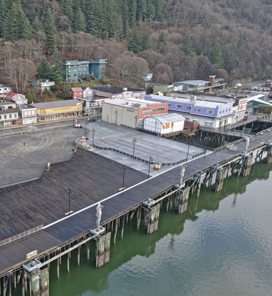 aerial view of Juneau port