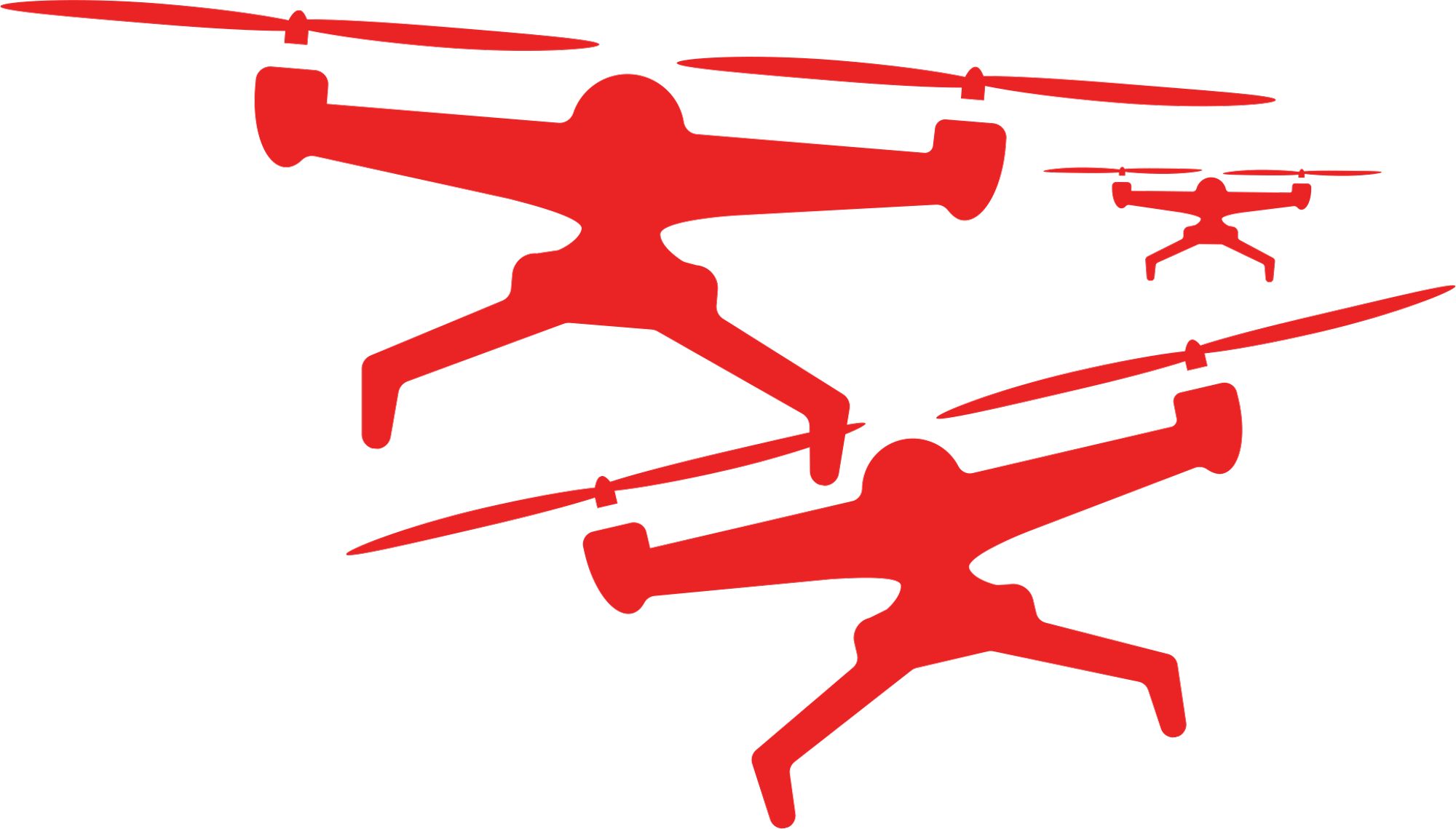 red clipart of three drones