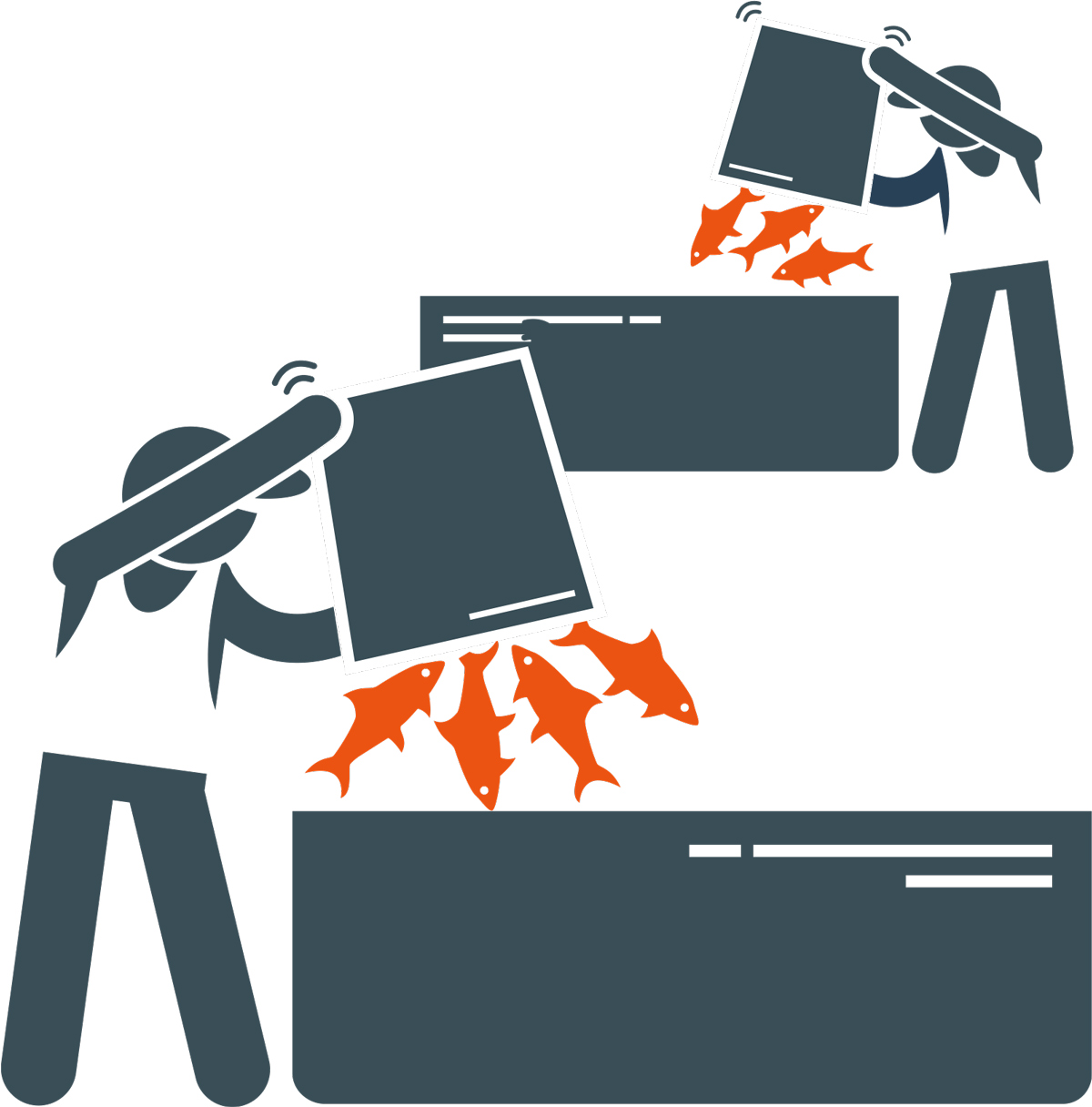clipart of fish being dumped into bins