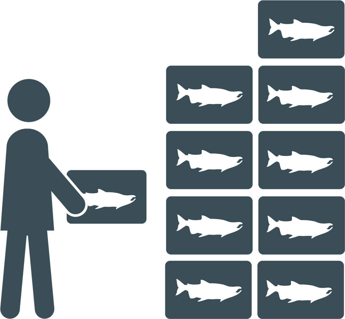 clipart of person stacking boxes of fish