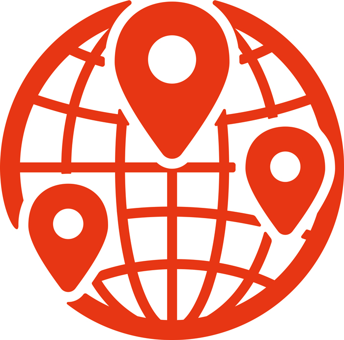 clipart of globe with location points